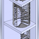 étude escalier hélicoïdal type atelier 2 niveaux